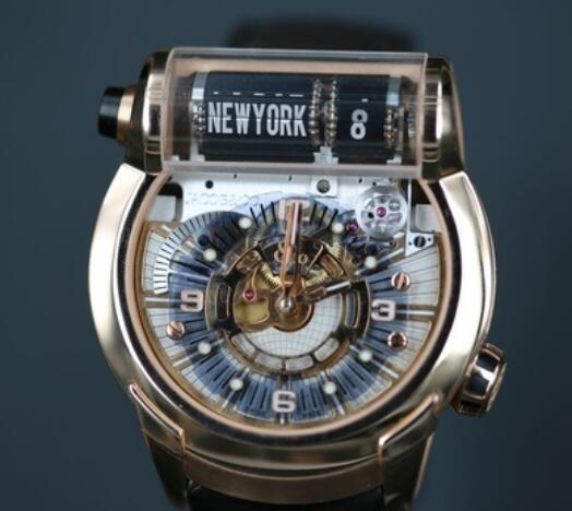 device designed in a shape of curvature tubular has been set on the top of the watch to display the name of cities.