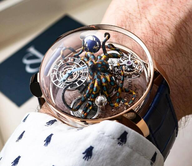 The transparent case allows the wearers to view the movement and structure of the outstanding timepiece.