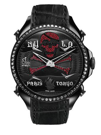 Swiss reproduction watches online maintain the cool style with black diamonds.