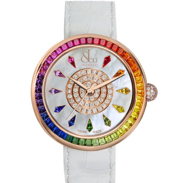 The sapphires on the bezel present the hue of charming rainbow.