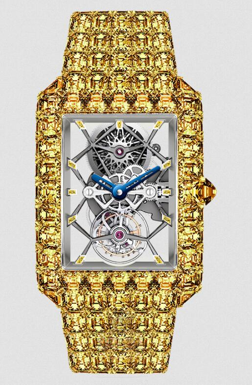 The skeleton design makes the inner movements of the online fake watches very legible.