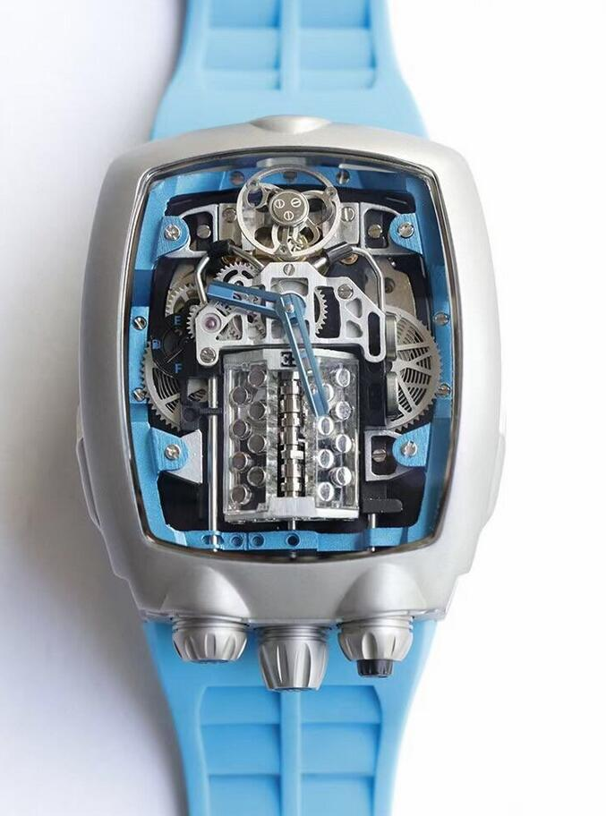AAA replica watches keep evident with blue hands.